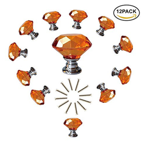 Anjuu 12 Pcs 30Mm Diamond Shape Crystal Glass Cabinet Knobs With Screws Drawer Knob Pull Handle Used For Kitchen, Dresser, Door, Cupboard (Amber)