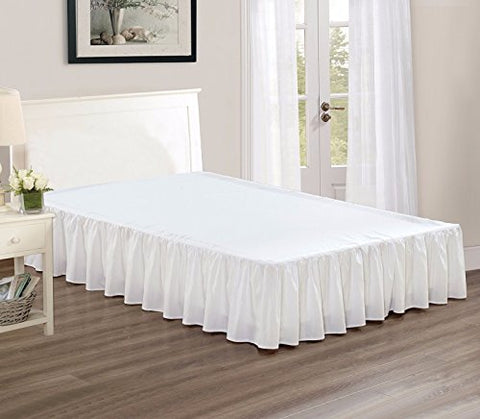 Chezmoi Collection Solid Chic Dust Ruffle Bed Skirt, 15  Drop (Queen, White)