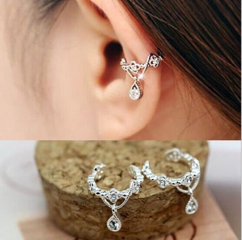 Women Ear Cuff Wrap Rhinestone Crystal Clip On Earring Jewelry Silver