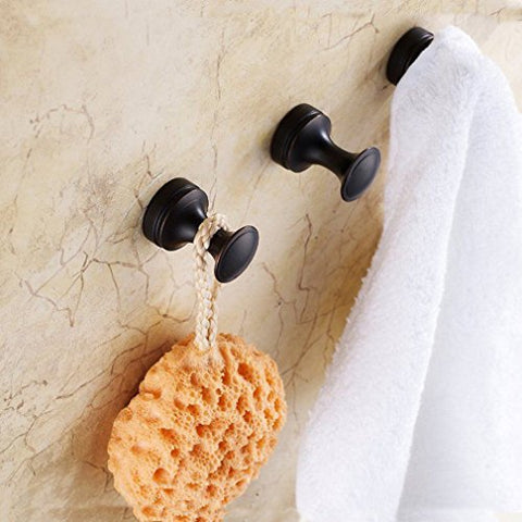 Ello&Allo Oil Rubbed Bronze Hooks Robe/Coat /Hat/Clothes Anti-Rust Hangers Wall Mounted With Concealed Screws Bathroom Shower And Bath Sponge Bath Towel Hooks, Three-Piece