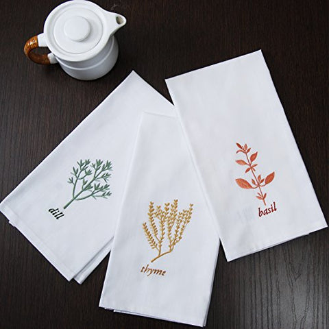 Cambay Linens Beautiful Table Decorations Towels - Set Of 6 Classic Floral Dish Clothes - 100% Cotton Embroidery Herb Simple Kitchen Towels, 20 X 27 (3 Embroidered And 3 Plain Towels)