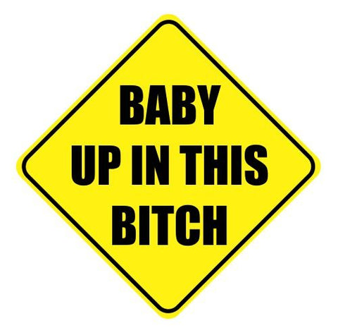 Baby Up In This B**Ch Cute Funny Car Vinyl Sticker Decal