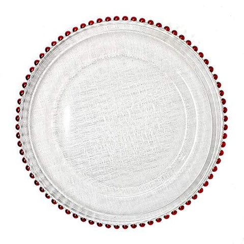 #1 Beautiful Round Glass Dinnerware 13-Inch Red Beaded Rim Clear Charger Plate Wedding Christmas Anniversary Modern Formal Charger Service Dining Entertaining Home Kitchen Party Decor Holiday (16)