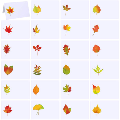 "Supla 120 Pcs Fall Wedding Place Cards Escort Cards With Assorted Fall Leaves Tented Place Cards Name Cards Guest Seating Cards Buffet Cards For Thanksgiving Autumn Shower Table Setting 4.3"" X 2.8"""