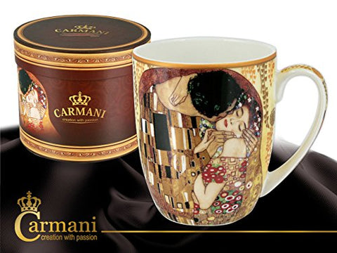 Carmani Painters Tea Cup Or Mug, Famous By Gustav Klimt Porcelain Collection (The Kiss)