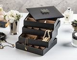 Earring Organizer Tray - 4 Stackable Trays With Lid - 45 Slot Classic Jewelry Storage Display Case For Drawer Or Dresser - Holder For Earring Ring Necklace Or Cufflinks - Large Mirror - Black