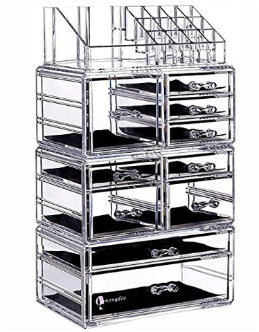 Cq Acrylic Large 8 Tier Clear Acrylic Cosmetic Makeup Storage Cube Organizer With 10 Drawers. It Consists Of 4 Separate Organizers, Each Of Which Can Be Used Individually -9.5 X6.5 X14.5