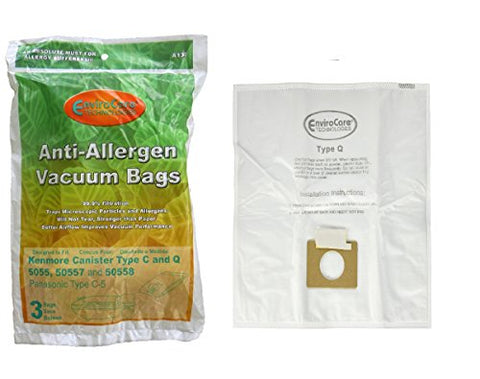 6 Kenmore Hepa Canister Type C, Q, 50558 50555 50557 Sears Anti-Allergen Vacuum Bags By Envirocare