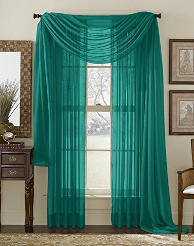 Hlc.Me Grey Teal Sheer Window Scarf - Valance - Fully Stitched & Hemmed - 56 X 216 Inch Long
