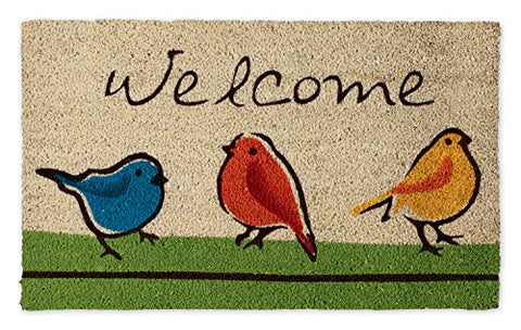 Dii Natural Coir Fiber, 18X30 Entry Way Outdoor Door Mat With Non Slip Backing - For The Birds