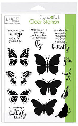 Gina K. Designs For Therm O Web Stampnfoil Clear Stamps  Butterfly Kisses