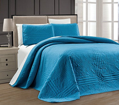 3-Piece Blue Oversize Stella Grande Bedspread King / Cal King Embossed Coverlet Set 118 By 106-Inch