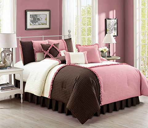 Emiko By Chezmoi Collection Luxury Ruffles Patchwork Rose Pink/Brown/Ivory Bedding Comforter Set, Queen