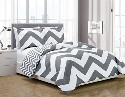 Chezmoi Collection 3-Piece Chevron Zig Zag Comforter Bedding Set (King, Grey)