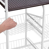 Langria 4-Tier Wire Kitchen Mesh Rolling Cart For Serving Utility Organization Cart, 3 Baskets, Easy Moving Lockable Wheels, 44 Lbs Weight Capacity, 23.6 X 12.6 X 39.4, White
