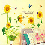 Docooler Sunshine Sunflower Butterfly Dancing In Summer Beautiful Removable Wall Stickers Diy Kid'S Child Room Decor Decal Lm858 (90 60Cm )