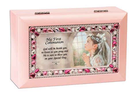 First Communion Girl Petite Pink Jeweled Music Box Plays Jesus Loves Me