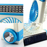 3 In 1 Multi-Functional Solar Cooling Table Fans With Eye-Care Led Table Lamp Flashlight Solar Panel Adaptor Plug For Home Use Camping (Blue)