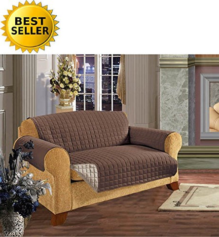 #1 Best Seller Reversible Furniture Protector! Elegance Linen Luxury Slipcover/Furniture Protector Great For Pets & Children With Straps To Prevent Slipping Off, Loveseat Size, Chocolate/Cream