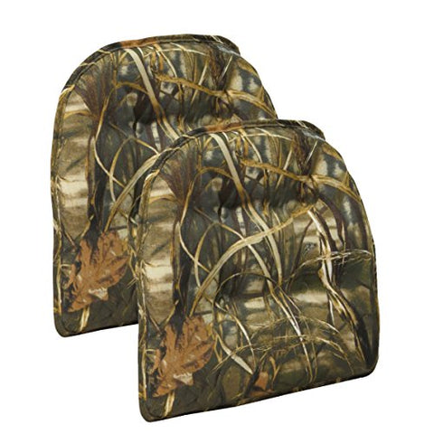 Non-Slip Gripper Realtree Camouflage Tufted Chair Cushions (Set Of 2)