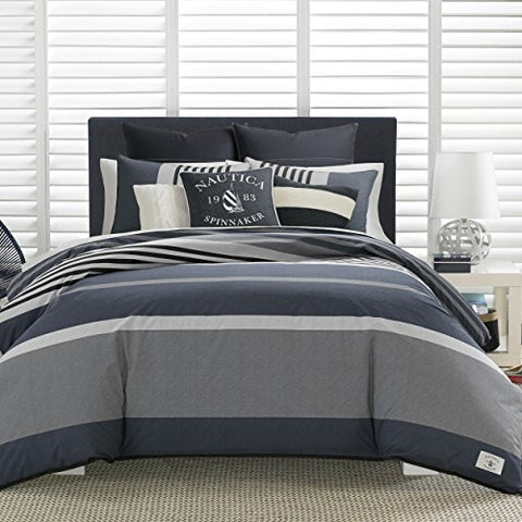Nautica Rendon Duvet Cover Set, Full/Queen, Charcoal