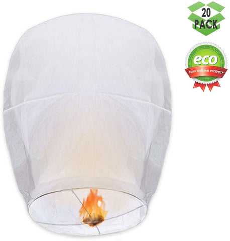 Gochange Chinese Lanterns, Paper Lanterns - 100% Biodegradable, Eco-Friendly, Japaneses Lanterns For Weddings, Celebrations, Memorial Ceremonies, White Lanterns