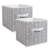 Dii Foldable Fabric Storage Containers For Nurseries, Offices, Closets, Home Dcor, Cube Organizers & Everyday Storage Needs, (Large - 11 X 11 X 11) Herringbone Gray - Set Of 2