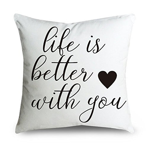 Fabricmcc Throw Pillow Cover 18 Inch Quote Words Square Decorative Linen Cushion Cover Throw Pillowcase For Couch (Life Is Better)