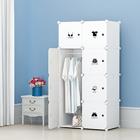 Kousi Portable Clothes Closet Wardrobe Freestanding Storage Organizer With Doors , Large Space And Sturdy Construction. White-8 Cube