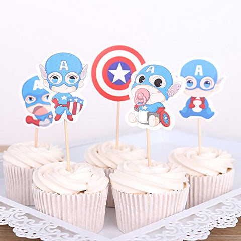 Astra Gourmet Adorable Kartoon Baby Captain America Super Hero Cupcake Toppers For Themed Party Birthday Party Decoration