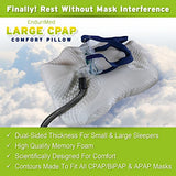 Cpap Pillow - New Memory Foam Contour Design Reduces Face & Nasal Mask Pressure, Air Leaks - 2 Head & Neck Rests For Max Comfort - Cpap, Bipap & Apap Users - For Stomach, Back, And Side Sleepers