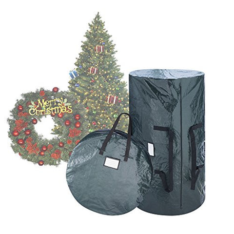 Elf Stor Deluxe Green Christmas Tree Storage Bag & 30 Inch Wreath Bag