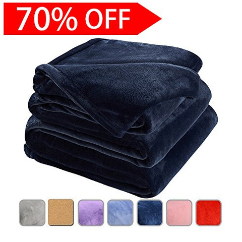 Fleece Bed Blanket Super Soft Warm Fuzzy Velvet Plush Throw Lightweight Cozy Couch Blankets Queen(90-Inch-By-90-Inch)Royal Blue