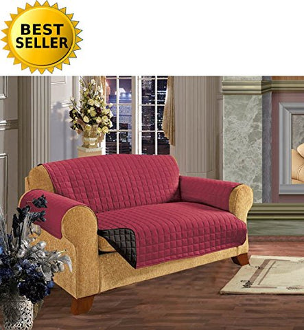 #1 Best Seller Reversible Furniture Protector! Elegance Linen Luxury Slipcover/Furniture Protector Great For Pets & Children With Straps To Prevent Slipping Off, Loveseat Size, Burgundy/Black