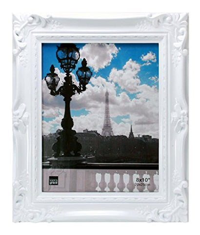 Kiera Grace Virginia Ornate Picture Frame, 8 By 10-Inch, White