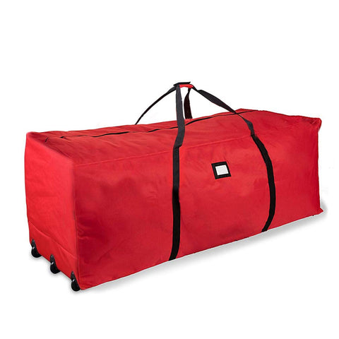 "Propik Holiday Rolling Tree Storage Bag, Extra Large Heavy Duty Storage Container, 28"" H X 16.5"" W X 60"" L With Wheels & Handles Fits Up To 9 Foot Tall Disassembled Trees 600D Oxford (Red)"