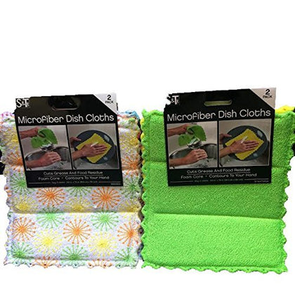 S&T Microfiber Dish Cloths, For Dishes & Kitchen Counters, Green & Yellow & Pattern Of Orange/Green & Pink/Purple-Total 4 Cloths