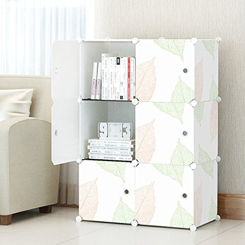 Kousi 3-Tier Storage Cube Closet Organizer Shelf 6-Cube Cabinet Bookcase, White