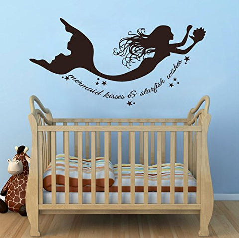 Wall Decal Decor Mermaid Wall Decals Quote Mermaid Kisses & Starfish Wishes Vinyl Decal Sticker Baby Girl Nursery Room Bedding Dcor(Dark Brown, 11.5 H X22 W)