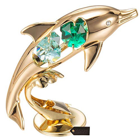 Matashi 24K Gold Plated Crystal Studded Dolphin Riding Wave Figurine Ornament