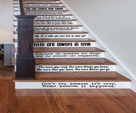 Gmddecals Dr Seuss Quotes Large Assorted Sayings Vinyl Stairs Or Wall Decal [Glossy Black]- 24 Wide By 2-4 Tall For Each Quote -Adhesive High Glossy Vinyl [3Mil]Made In Usa