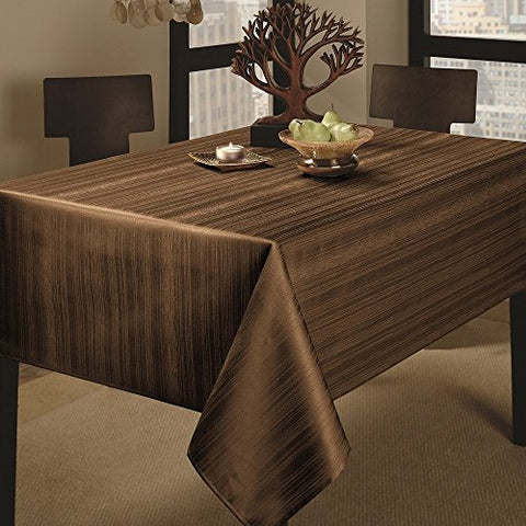 Benson Mills Co., Inc. Benson Mills Flow Heavy Weight Spillproof 60-Inch By 104-Inch Fabric Tablecloth, Chocolate, 60X104