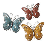 Nature Inspired Metal Butterfly Wall Art Trio For Indoor Or Outdoor Use, Multi