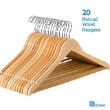 Zober Solid Wood Suit Hangers With Non Slip Bar And Precisely Cut Notches - 360 Degree Swivel Chrome Hook - Natural Finish Super Sturdy And Durable Wooden Hangers -