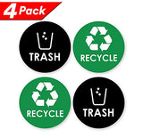 Recycle Trash Bin Logo Sticker - 4  X 4  - Organize & Coordinate Garbage Waste From Recycling - Great For Metal Aluminum Steel Or Plastic Trash Cans - Indoor & Outdoor - Use At Home Kitchen & Office