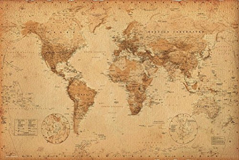 World Map (Antique) Art 24X36 Poster