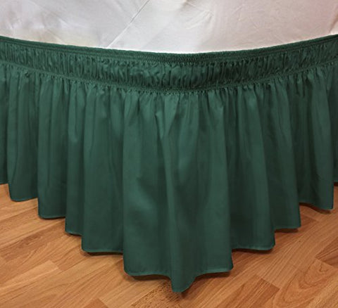 Elegant Elastic Ruffle Bed Skirt Easy Warp Around King/Queen Size Pin Bed Skirt Pins Included, (Hunter Green)