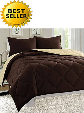 Celine Linen Luxury All Season Light Weight Down Alternative Reversible 3-Piece Comforter Set - Hypoallergenic, Diamond Stitched, King, Chocolate Brown/Cream