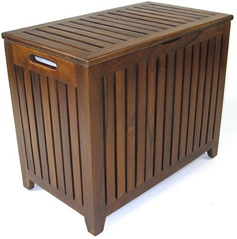 Redmon Genuine Vanity Style Hamper, Wood Grain Teak