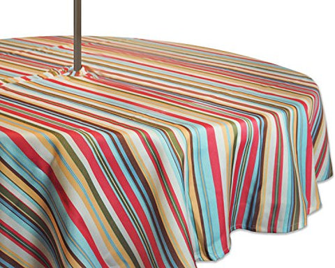 Dii 100% Polyester, Spill Proof,  Machine Washable, Zipper Tablecloth For Outdoor Use With Umbrella Covered Tables, 60 Round, Warm Summer Stripe, Seats 4 People